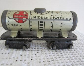 Vintage Santa Fe Metal Toy Train Car Unique Display
