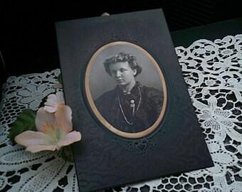 Vintage Cabinet Card, Black Formal, Early 1900's, Portrait Victorian Woman, Edwardian