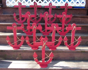 18 Inch Wood Anchor Centerpiece. Nautical Wedding Centerpiece. Beach Wedding. Coastal Wedding. Made to Order