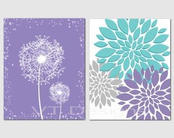 Purple Teal Gray Wall Art, Bedroom Art, Bathroom Decor, Living Room Wall Art, Floral, Peony,Dandelion Wall Art, Set of 2,Prints