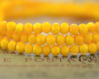 145pcs Crystal Glass Rondelle Faceted Tiny beads 2x3mm, Opaque Yellow (#BZ03-36)