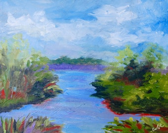 Carolina Marsh Modern Impressionist Original Oil Landscape by Rebecca Croft