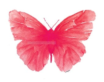 red butterfly watercolor archival print by Carol Sapp