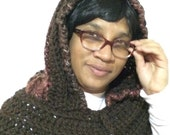 Crochet Hooded Cowl, Chunky Scoodie, Crochet Hoodie Cowl, Crochet Hooded Scarf, Chunky Hoodie Cowl, Ready to ship