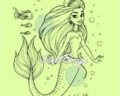 Happy Mermaid Digital Stamps