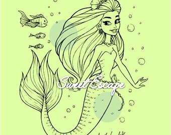 Happy Mermaid Digital Stamps