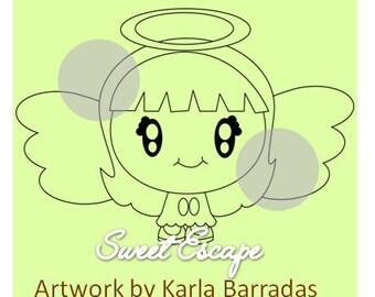 Cute Angel Digital Stamp