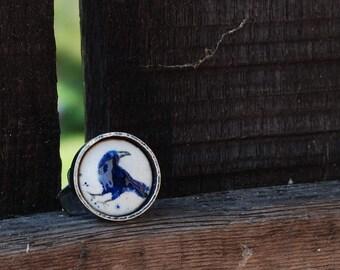 Enamel crow raven ring