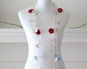 Crochet Ivory, Blue, Red Lariat  Necklace, Scarf, Scarflette