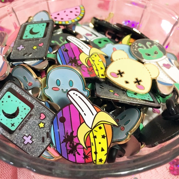 Enamel Pins Seconds Sale - Clearance Deaddy Bear, Banana, Watermelon, Ghost, Dream Phone, Peach, Martian Kitty