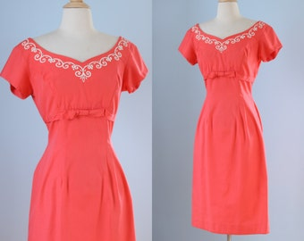 1950s coral wiggle dress / 50s fitted cotton dress  /