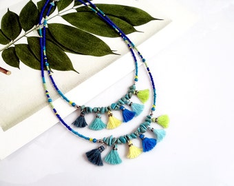 Beaded Tassel Necklace, Turquoise Boho Necklace, Multi Tassel Statement Necklace