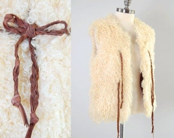 Vintage 60s cream Mongolian curly lamb fur vest / Silky soft / Braided leather ties / Bohemian hippie vest