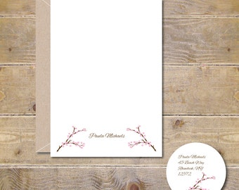 Cherry Blossom Note Cards, Cherry Blossoms Thank You Notes, Note Cards, Cherry Blossoms, Cherry Blossom Stationery