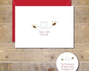 Wedding Thank You Cards, Bee Wedding, Bees, Bee Wedding Cards,  Thank You Cards, Bridal Shower, Hearts, Bridal Shower Thank You Cards
