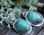 Blue with Brown Matrix Turquoise Dangle Earrings