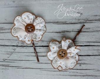 Hankie Flower Bobby Pins
