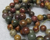 Jasper Beads 12mm Smooth Round Natural Picasso Jasper Multicolored Rounds - 8 Pieces
