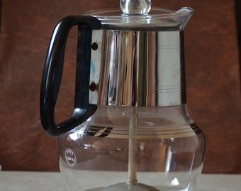 Proctor Silex Glass Percolator/Stovetop Coffee Percolator /Beverage Server/Coffee Decanter/8 Cup Percolator/50s/60s