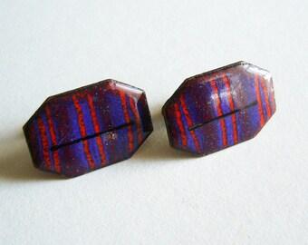 Vintage Modernist Enamel Cufflink Set - Blue & Violet Stripes - Octagon Brass Metal Toggle Posts - Arty Artist