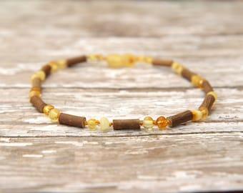 Baltic amber & Hazelwood Teething Necklace: baby, kids, adults, natural healing, eczema, heartburn, acid reflux