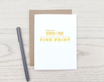 fine print pick-up line letterpress card