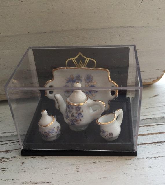 SALE Miniature Blue Onion Tea Set By Reutter, Dollhouse