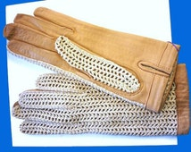 1950s Camel Leather and Crochet Beige Cotton Unworn Still Attached Gloves - Size 7 1/2 - Summer Sporty Vintage Gloves in Crochet and Leather