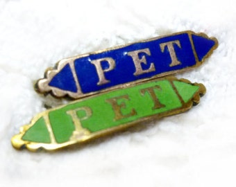Antique Victorian Tiny Pet Enamel and Brass Pin Findings - Priced for One - Blue, White, Black and Green