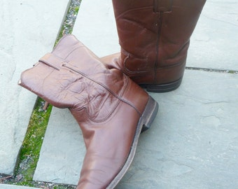 Justin Roper Boots Vintage Western Size 9 Chocolate Brown