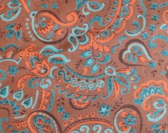 Vintage Paisley Floral Print Fabric-2 yards-brown teal blue orange