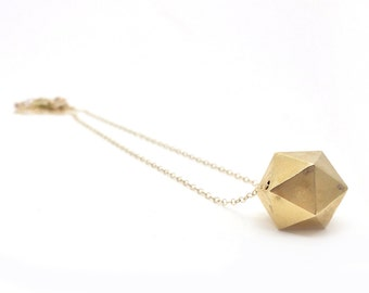icosahedron: 3d printed jewelry // d20 polyhedron geometric faceted statement necklace // brass