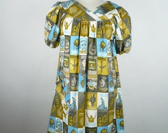 Vintage late 1960s, Summer Dress, Artist Smock, Duster, Muumuu, Beach Coverup, Novelty Print,Mustard, Gold, Blue, White, Brown, Size Large
