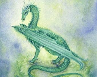 Dragon Art Print - Viridian - fantasy. whimsical. green. creature. wings. marsh.