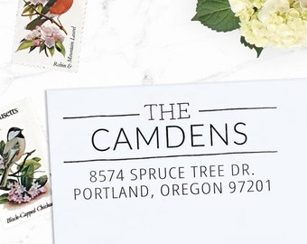 Return Address Stamp, Custom Address Stamp, Wedding address stamp, Calligraphy Stamp, Self inking or Eco Mount stamp  - Camden