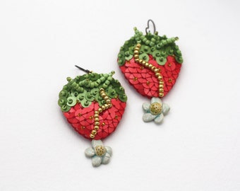 Strawberry Sequin Earrings, White Flower Blossom, Red Green Sequins, Modern Berry Earrings, Felt Embroidery Jewelry, Kawaii Food Red Fruit