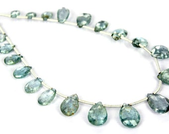 Limited Stock AA Quality Moss Aquamarine Faceted Pear / 5x8 to 8x12 mm / AQUA-005