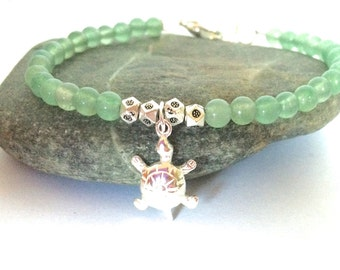 Green Aventurine Turtle Bracelet, Beaded Aventurine Bracelet, Turtle Jewelry