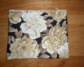 """Peonies - 7"""" Zippered Pouch - Lined  - Floral"""