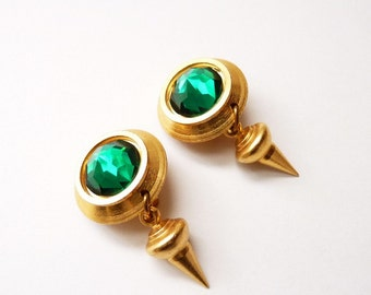 Vintage Designer Satin Gold Dangling Earrings with Emerald Green Crystal 2 Inches by Mary DeMarco for  La Contessa
