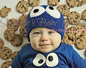 Baby Crochet Cookie Monster Beanie, Custom Made, 6-12 Months, Toddler, Blue Boy or Girl Hat, Photo Prop, Shower Gift, Sesame Street