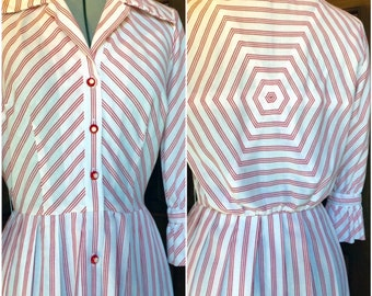 1950s Serbin of Florida Red and White Shirt Dress