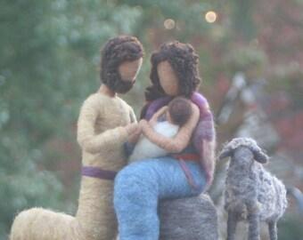 Nativity Set / Needle Felted Nativity/ Nursing baby