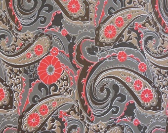 """1970s Vintage Fabric - Brown and Red Paisley Silky Synthetic - 2 yds x 45"""" wide"""