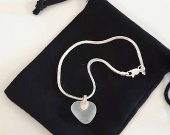 Frosted White Heart Bracelet