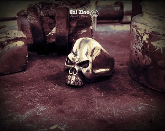 Genuine Ezi Zino  skull biker  ring solid sterling silver 925