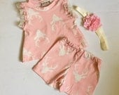 Baby girl clothes, baby girl clothing sets, art gallery fabric,