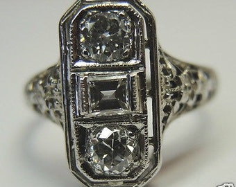 Antique Diamond White Gold Engagement Ring | RE: 628