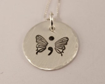 Hand Stamped Butterfly Necklace - Sterling Silver