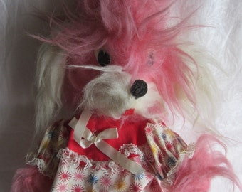 Vintage Stuffed Dog Shaggy Pink Plush 60s Esther Miller Doll Creations Brooklyn NY